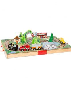 משחק בקופסת עץ מליסה ודאג בנושא תחבורה ורכבת